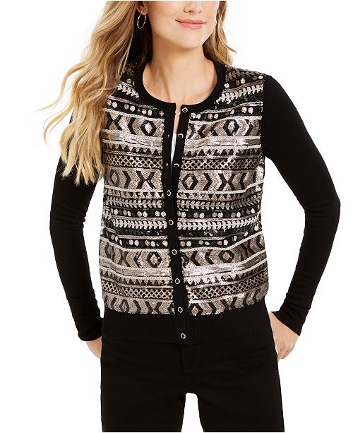 Charter Club Sequined Fair Isle Cardigan, Created For Macy's