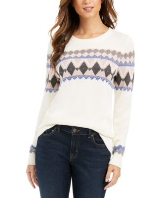 Petite Printed Sweater, Created For Macy's