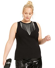 INC Plus Size Rhinestone Fringe Tank, Created for Macy's