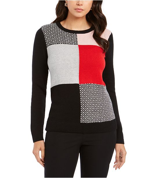 Charter Club Petite Patchwork Sweater, Created For Macy's