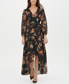 Tommy Hilfiger Miranda Floral-Print Chiffon Wrap Maxi Dress