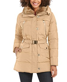Belted Faux-Fur Collar Down Hooded Down Coat