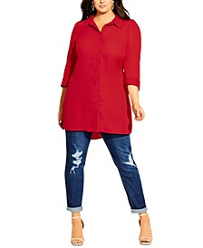 Plus Size Button-Front Tunic Shirt