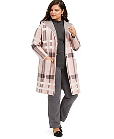 Plus Size Hooded Plaid Coatigan, Created For Macy's