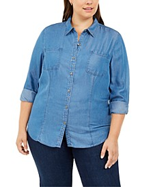 Plus Size Denim Utility Shirt, Created For Macy's