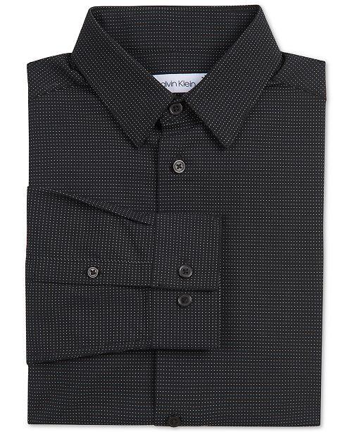 Calvin Klein Big Boys Stretch Textured Micro-Dot Dress Shirt