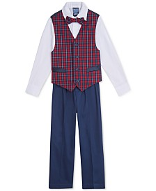 Nautica Little Boys Regular-Fit 4-Pc. Blue Tartan Vest Set
