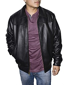 Retro Leather Men's Bomber Jacket
