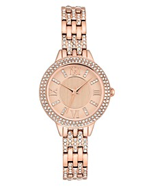 Ladies Rose Gold-Tone Bracelet with Swarovski Crystal Accents Watch 30mm