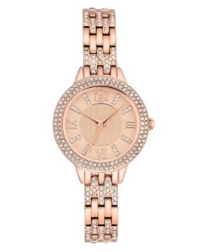 Badgley Mischka Ladies Rose Gold-Tone Bracelet with Swarovski Crystal Accents Watch 30mm