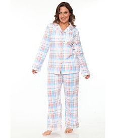 White Mark Plus Flannel Pajama Set