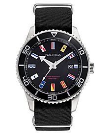 Men's Pacific Beach Black, Silver-Tone Watch Box Set, Fabric and Silicone Straps 44mm