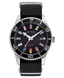 Nautica Men's Pacific Beach Black, Silver Watch Box Set, Fabric and Silicone Straps