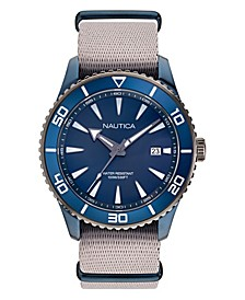 Men's Pacific Beach Beige, Blue Fabric Strap Watch 44mm