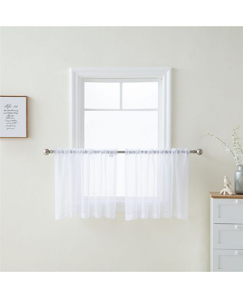 HLC.me Lumino by Canberra Sheer Voile Rod Pocket Café Tiers - 54 W x 36 L - Set of 2