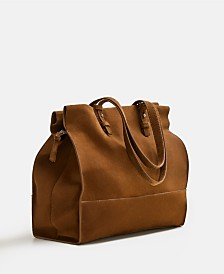 Mango Leather Shopper Bag