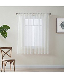 Lumino by Canberra Sheer Voile Rod Pocket Curtain Panels - 54 W x 45 L - Set of 2