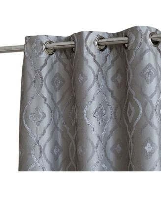 Obscura by Tweed Heads Trellis Flocked 100% Blackout Grommet Curtain Panels - 37 W x 96 L - Set of 2