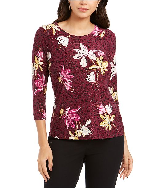 JM Collection Petite Printed Jacquard Top, Created for Macys