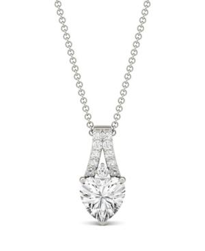 Moissanite Heart Solitaire Pendant 1-1/3 ct. t.w. Diamond Equivalent in 14k White Gold