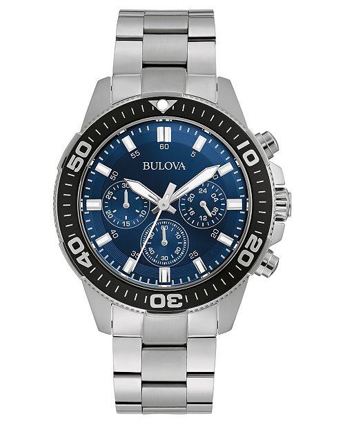 Bulova Men's Chronograph Stainless Steel Bracelet Watch 42mm, Created for Macy's