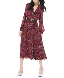 Michael Michael Kors Printed Belted Midi Dress
