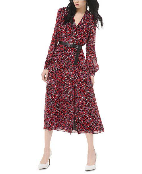 Michael Kors Printed Belted Midi Dress