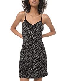 Rhinestud-Embellished Slip Dress