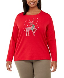 Plus Size Deer Decor Embellished Top, Created For Macy's