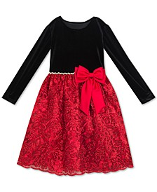 Big Girls Plus Size Embellished Velvet Bow Dress