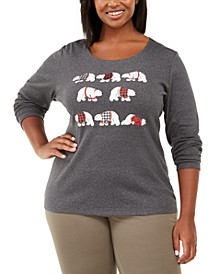 Plus Size Polar Parade Cotton Graphic Top, Created For Macy's