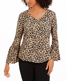 NY Collection Petite Animal-Print Bell-Sleeve Top