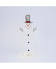 33-Inch High Electric Metal Snowman Outdoor Décor with Remote Feature