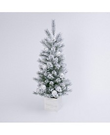 4-Foot High Electric Flocked Tree in Wooden Box