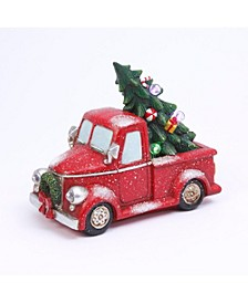 22.8-Inch-Long, Battery Operated, Lighted Magnesium Musical Holiday Truck with Tree