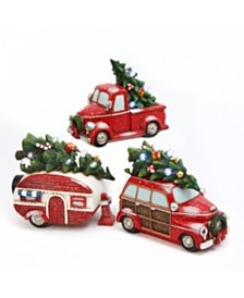 Gerson & Gerson Assorted Set of 3 Battery-Operated Resin Holiday Vehicles with Timer Feature