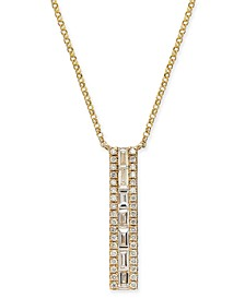 "Diamond Baguette Vertical Bar 18"" Pendant Necklace (3/8 ct. t.w.) in 14k Gold"