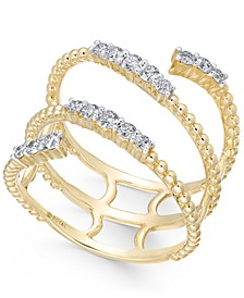 Diamond Beaded Wrap Wring (3/8 ct. t.w.) in 14k Gold