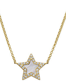 """EFFY® Mother-of-Pearl & Diamond (1/8 ct. t.w.) Star Pendant Necklace in 14k Gold, 16"""" + 2"""" extender"""