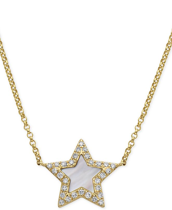 "EFFY Collection EFFY® Mother-of-Pearl & Diamond (1/8 ct. t.w.) Star Pendant Necklace in 14k Gold, 16"" + 2"" extender"