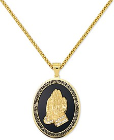 "Men's Praying Hands 24"" Pendant Necklace in Black Enamel & Yellow Ion-Plated Stainless Steel"