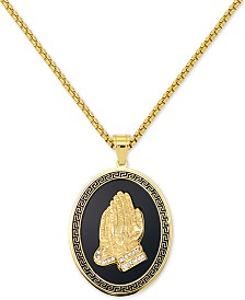 "LEGACY for MEN by Simone I. Smith Men's Praying Hands 24"" Pendant Necklace in Black Enamel & Yellow Ion-Plated Stainless Steel"
