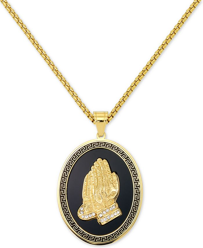 """LEGACY for MEN by Simone I. Smith - Men's Praying Hands 24"""" Pendant Necklace in Black & Yellow Ion-Plated Stainless Steel"""