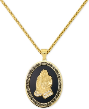 """Smith Men's Praying Hands 24"""" Pendant Necklace in Black Enamel & Yellow Ion-Plated Stainless Steel"""