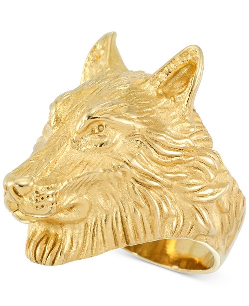 LEGACY for MEN by Simone I. Smith Men's Wolf Ring in Yellow Ion-Plated Stainless Steel