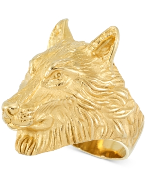 Smith Men's Wolf Ring in Yellow Ion-Plated Stainless Steel