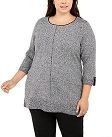 Contrast-Trim Marled Cotton Sweater, Created For Macy's