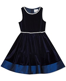 Big Girls Pearl Embellished Velvet Dress