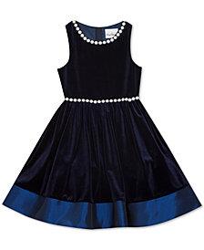 Rare Editions Big Girls Pearl Embellished Velvet Dress