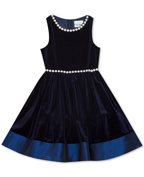 Rare Editions Big Girls Pearl Embellished Velvet Dress